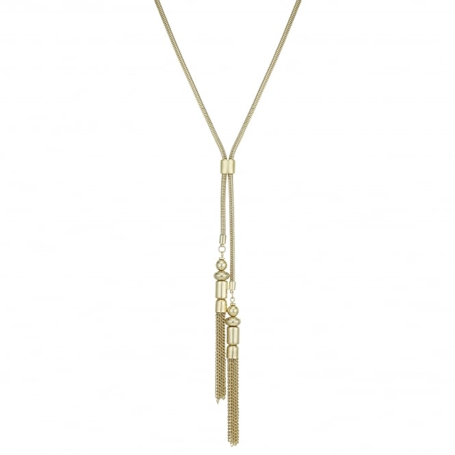 Gold Tassel Lariat Necklace