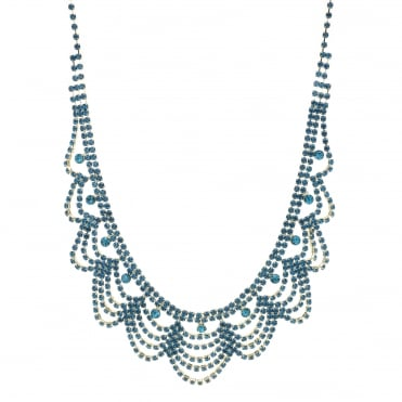 Teal crystal diamante bib necklace