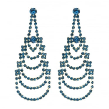 Teal crystal diamante chandelier earring