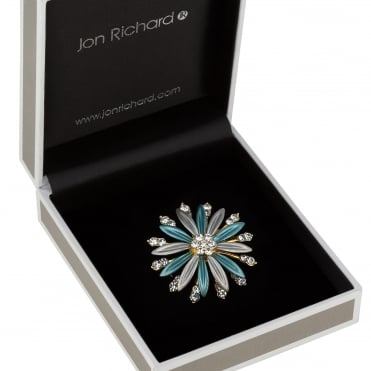 Teal crystal flower brooch