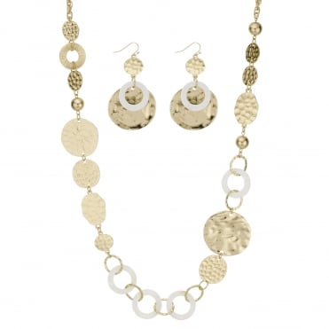 Textured circle and shell jewellery set
