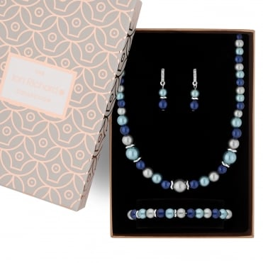 Tonal blue pearl jewellery set