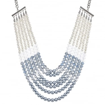 Tonal blue pearl multi row necklace