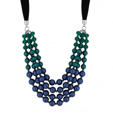 Blue / Green Pearl Ribbon Necklace