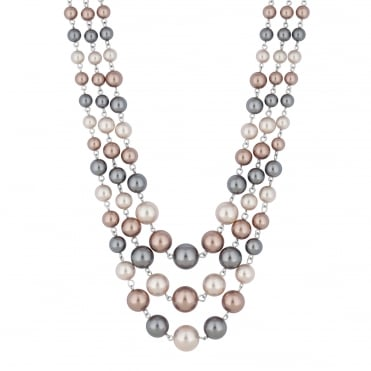 Tonal pearl multi row necklace