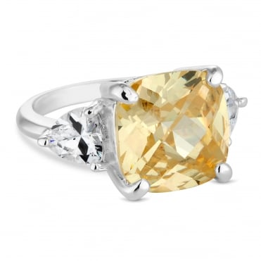 Yellow cubic zirconia statement ring